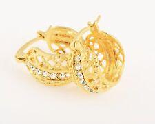 Hoop Huggie Earrings Clear Crystal yellow Gold Filled Gorgoues Wide Girls