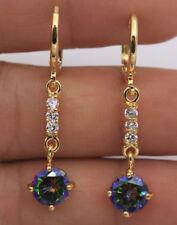 18K Yellow Gold Filled - 1.5'' Round Mystical Topaz Dangle Women Hoop Earrings