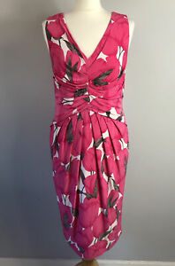 PHASE EIGHT Size 14 Hot Pink Floral Pencil Dress Ladies Wedding Races Summer