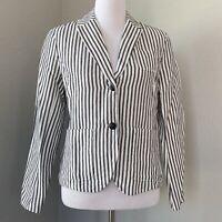 GAP Women's Size 6 Nautical Striped Blue White Linen Blend Pockets Casual Blazer