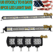 "52Inch LED Light Bar Combo + 22"" +4"" CREE PODS OFFROAD For SUV 4WD Ford Jeep 20"""