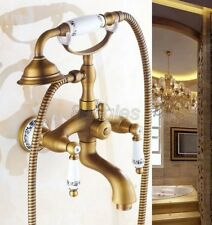 Retro Antique Brass Wall Mounted Bathroom Tub Handheld Shower Faucet Set 8tf310