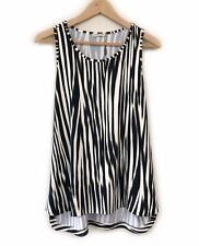 Metalicus Print Tank Top Size M-L Beige Black Sleeveless TShirt Tee Casual Women