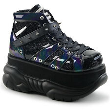Black Blue Demonia Cyber Rave Festival Shoes Platform Sneaker Boots Womans 7 8 9