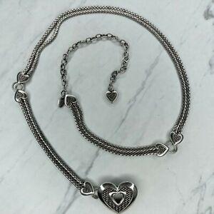 Brighton Vintage Silver Tone Heart Belly Body Chain Link Belt Size Medium M