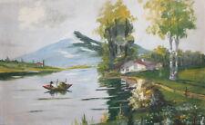 Vintage impressionist gouache painting river landscape