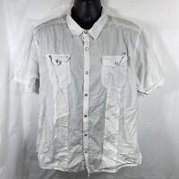 Disney Parks Men's XL White Utility/Fishing Shirt Snap Button Disneyland Resort