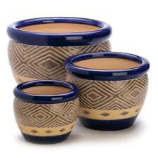 Cobalt Blue Garden Planter Trio Set Of 3 Indoor Outdoor Ceramic Flower Pots
