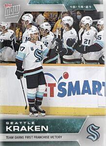 2021-22 TOPPS NOW NHL STICKER SEATTLE KRAKEN #10 1st FRANCHISE VICTORY