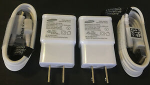 (2x) Samsung 2.0 Amp Charger OEM for Galaxy Note 3 S5 S4 + (2x) 4ft 1.2M Cable