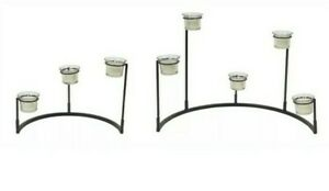 """Multi-Level 8 Votive Candle Holder Stand 2 Sections 12""""H, Metal/Glass New"""
