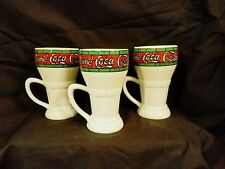 THREE MILK WHITE COCA COLA Coffee CUPS MUGS WITH STAINED GLASS DESIGN