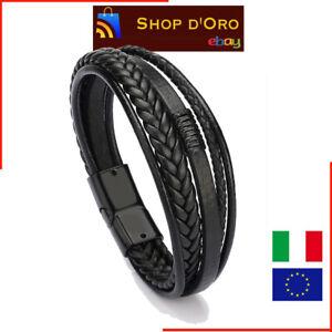 Bracciale Uomo Cuoio Pelle Nero Full Black Treccia Chiusura Magnetica Idea Regal