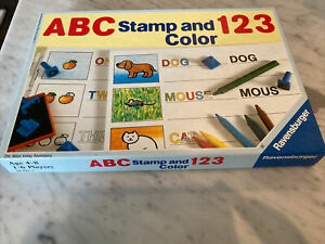 Vtg Ravensburger ABC 123 Letters Numbers Stamp & Color educational toy