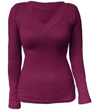 Basic Deep V-Neck Long Sleeve T-Shirt Top