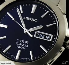 NEW SEIKO TITANIUM BLUE DIAL SAPPHIRE DAY/DATE CASUAL ANALOG WATCH SGG729P1