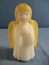 Fenton Hand Painted Satin Glass Girl Angel Figurine Golden Yellow Glitter Wings