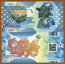 USA States, Florida, $50, Polymer, ND (2016), UNC > Ponce De Leon, Alligator