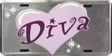 "Diva Hearts Pink Girl Women's 6""x12"" Aluminum License Plate Tag FAST SHIPPING"