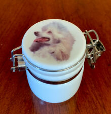 Small Ceramic Salt Container  Lid & Wooden Spoon Dog G3-12