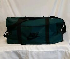 Rare Vintage Nike Duffel Bag Green Nylon Swoosh Logo Large Locking Gym/Sport Bag
