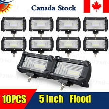 """10 PCS 5"""" 72W Flood LED Work Light Bar For Truck Offroad SUV Driving Waterproof"""