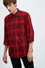 Urban Renewal Vintage Customised Overdyed Plaid Shirt - Red - S - RRP £30