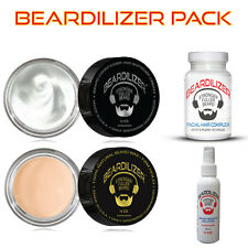 Beardilizer Value Pack: Supplement 90 Caps + Spray 4 Oz + Cream 4 oz + Wax 4 oz