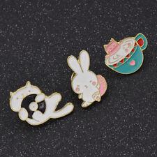 1 Set Women Girl Brooch Cat Rabbit Enamel Collar Lapel Pin Badge Jewelry Gift