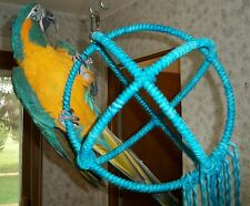 Large Blue Parrot 3 Ring Orbit Preening Swing Perch Cotton Rope