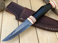 "HUNTEX CustomHandmade Damascus 9"" Long Full Tang Buffalo BushCraft Hunting Knife"