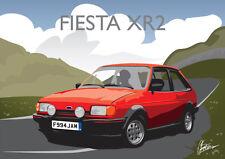 Ford Fiesta XR2 Classic British Car Sportscar Art Deco Style Birthday Card