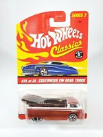 HOT WHEELS CLASSICS SERIES 2 CUSTOMIZED VW DRAG TRUCK - ORANGE - NEW W/ PROTECTO