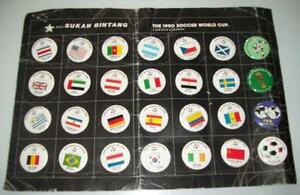 Pin Badge Set Rare 1990 World Cup Ltd Edition By Sukan Bintang AFTAL/UACC RD