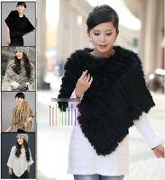 Fluffy Real Rabbit Fur Knitted Wrap Shawls Cape Poncho Scarf Black Xmas Gift