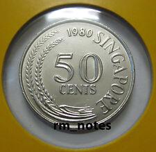 "SINGAPORE  50cents coin 1980 Lionfish ""BU"""