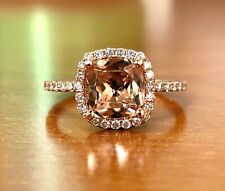 14K Rose Gold Natural Diamond & Pink Cushion Morganite Ring 1.51 TCW Size 5.75