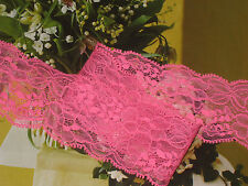 """6 yards 2"""" width hot pink color with floral scalloped non stretch lace trim"""