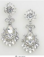 """2.75"""" Long Clear Silver White Austrian Crystal Pageant Bridal Earrings Formal"""