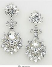 "2.75"" Long Clear Silver White Austrian Crystal Pageant Bridal Earrings Formal"