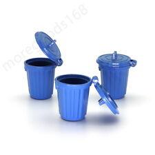1pcs Mini Trash Can Alloy 1:12 1:6 Dollhouse Metal Miniature Accessory Toy Blue