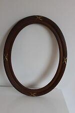 Ancien Cadre en BOIS OVALE et Croisillons de Laiton Doré 47,5 X 37 cm