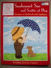 Sunbonnet Sue and Scottie at Play redwork or applique quilt sewing patterns