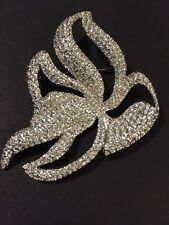 Swarovski Pave Flower Pin Brooch Abstract Organic Art Nouveau Silvertoned