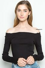 New! Brandy melville Black Crop Jersey ruffle trimmed Off Shoulder Kristen Top