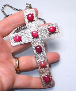 "Cross Pendant Sterling Silver 925 Huge 5"" with Ruby Cabochons 30"" Rope Chain"