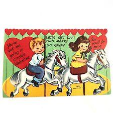 Vtg Valentines Card Carousel Merry Go Round Greeting Horse Boy & Girl 40s 50s