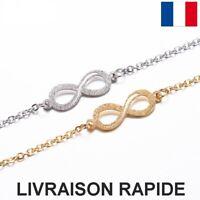 Bracelet Infinity Infini Doré Argenté Bijou Femme Cadeau Fête Des Mères