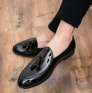 37-47 Mens Patent PU Leather Tassels Slip On Loafers Shoes Casual Dress Formal