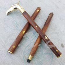 Vintage Solid Brass Handle Antique Style Victorian Cane Wooden Walking Stick